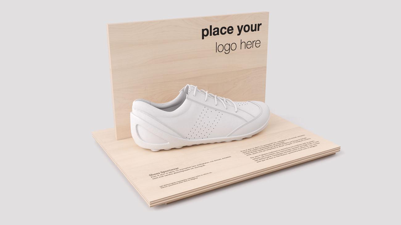 Espositore in legno per calzature sportive
