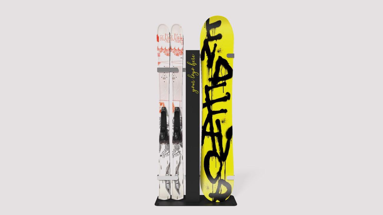 Espositore per sport invernali: sci e tavole da snowboard