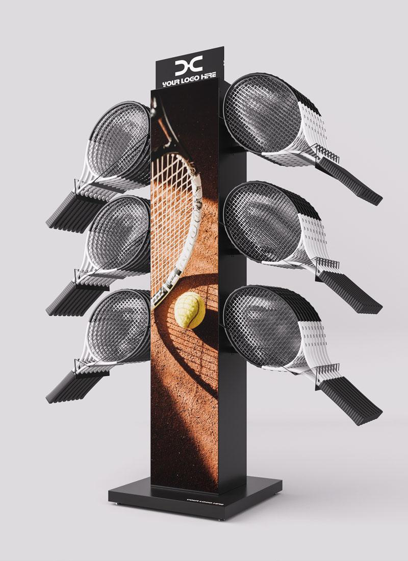 Espositore per sport a racchette: espositore per racchette da tennis